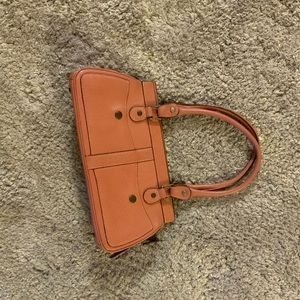 Pink crocodile style nordstrom leather hand bag